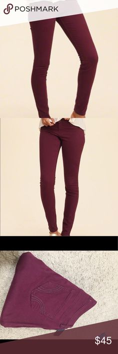 maroon hollister jeans Never have been work. Still with tages. The color is a nice rich deep maroon Hollister Jeans Skinny