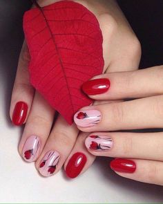 cute red flowers nail art