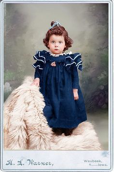 colorized photo of a little girl