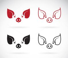 Vector image of an pig head  by yod67 on @creativemarket