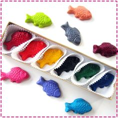 Kids' FISH CRAYONS  Coloring Party Favors  Set by ivylanedesigns on Etsy