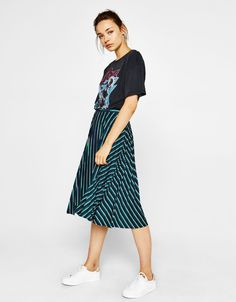 Pleated midi skirt - Skirts - Bershka United States