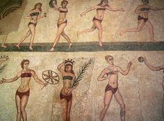 "The ""Bikini Girls"" - a Roman mosaic at the century Villa Romana in Armerina, Sicily depicting women playing a variety of sports Ancient Rome, Ancient Greece, Ancient Art, Ancient History, Toga Romana, Pax Romana, Fresco, Brazilian Style, Bh Push Up"