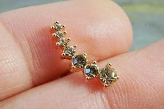 16G Rose Gold Cascading Champagne Crystal Cartilage Earring