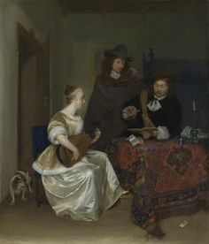 Gerard Terborch II (1617–1681) A Woman playing a Theorbo to Two Men
