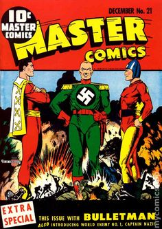Captain Marvel, Captain Nazi and Bulletman - Master Comics - Cover by Mac Raboy Vintage Comic Books, Vintage Comics, Comic Books Art, Comic Art, Book Art, Bd Comics, Horror Comics, Marvel Comics, Ms Marvel