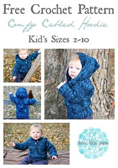 Crochet For Babies Comfy Cabled Hoodie - Free Crochet Pattern Mode Crochet, Crochet Bebe, Crochet For Boys, Knit Crochet, Ravelry Crochet, Crochet Children, Boy Crochet Patterns, Baby Patterns, Crochet Designs