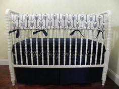Navy Arrow Baby Bedding Set Boy Baby Bedding by BabyBeddingbyJBD