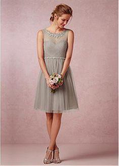 Chic Tulle Bateau Neckline Knee-length A-line Bridesmaid Dress