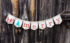 Be Merry Burlap Banner, Christmas decoration, Photo Prop