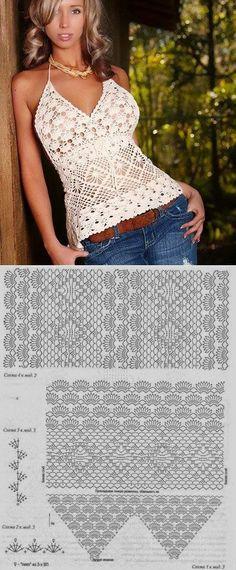 Топ со схемами.   вязание   По    Crochet