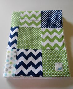 Minky Baby Boy Patchwork Quilt Blanket Riley Blake Chevrons and Dots Michael Miller Lotsadots Navy Green--Made to Order