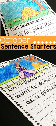 This pack of October themed writing prompts will keep your kindergarten and first grade writers engaged as they complete these Halloween sentence starters writing prompts. First Grade Science, First Grade Writing, First Grade Activities, Teaching First Grade, Kindergarten Writing, Kindergarten Activities, Writing Activities, Literacy, Writing Skills