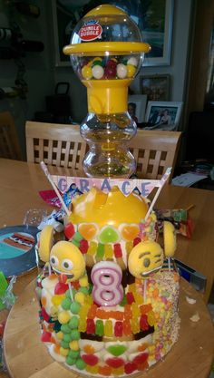 All sweets birthday cake for 8 year old. 8 Year Olds, Birthday Cake, Sweets, Cakes, Gummi Candy, Cake Makers, Birthday Cakes, Candy, Kuchen