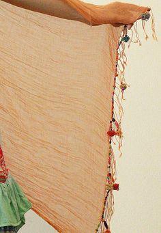 cotton scarf w/beads 28