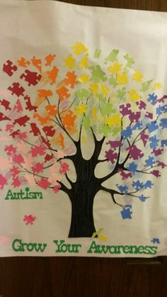 Awesome door decoration on our classroom door for Autism Awareness Month! By: Peggy :)