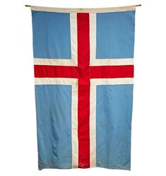 Enormous Merchant Navy Flag of Iceland Circa 1950s F5127