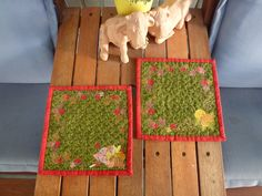 Quilting. Autumn mug rugs for the balcony tables