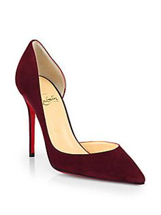Christian Louboutin - Iriza 100 Suede D'Orsay Pumps #ChristianLouboutin