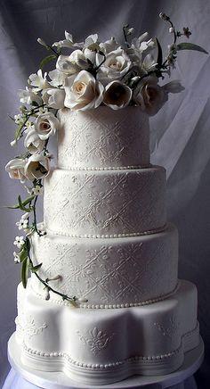 white floral wedding cake by kickass kakes, via Flickr
