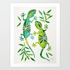 Collect your choice of gallery quality Giclée, or fine art prints custom trimmed by hand in a variety of sizes with a white border for framing. https://society6.com/product/geckos-green-palette_print?curator=spadecaller