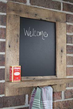 YOUR Custom Reclaimed Barnwood Chalkboard with a Towel Bar and Chalk Holder. $55.00, via Etsy.