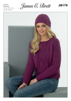 Hat and Sweater in James C. Brett DK with Merino - JB179