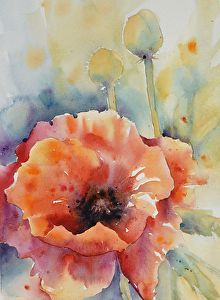 Poppy Grande by artist Yvonne Joyner. #watercolor painting found on the FASO Daily Art Show - http://dailyartshow.faso.com