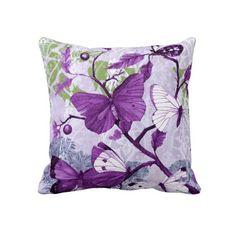 Purple Butterflies on a Branch - American MoJo Pillow