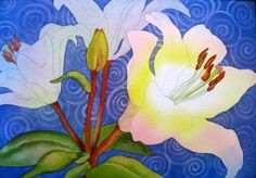 The Painted Prism: WATERCOLOR WORKSHOP: Painting White Flowers with Patterned Background - lift color off in spirals after done painting!