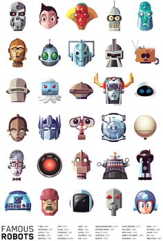 Illustrated Collection of Famous Movie, TV, Comic & Video Game Robots BTW...for the best game cheats, tips, check out: http://cheating-games.imobileappsys.com/