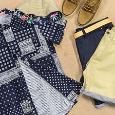 """""""Step outside your comfort zone and mix prints for a new-season look. #WoolworthsMen #menswear #prints #woolies #summer"""""""