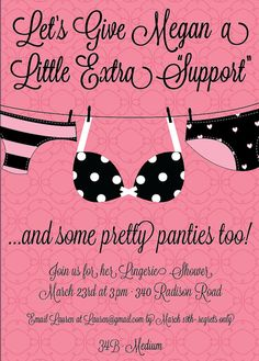 "A little Extra ""Support"" themed invitations- Custom Lingerie Shower Invitation $10.00"