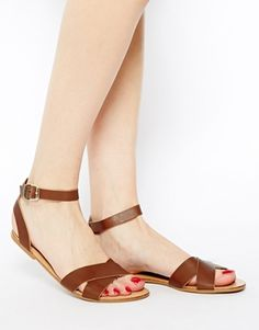 Image 4 ofPieces Sara Leather Mocca Flat Sandals