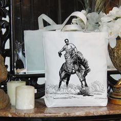 Cowboy Rides Tames Bucking Horse Western Old West Digital Image Download Transfer To Pillows Tote Tea Towels Burlap No. 1769