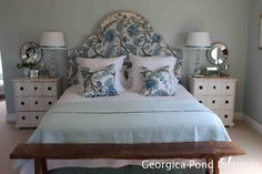 Master Bedroom - Georgica Pond.  Love the shape and style of this headboard.  Love the lamps and night tables too!