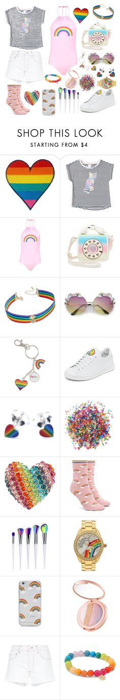"""Pride ♥"" by vitorialn ❤ liked on Polyvore featuring Boohoo, Betsey Johnson, INC International Concepts, Joshua's, Dress My Cupcake, Forever 21, Sonix, tarte, AGOLDE and Sydney Evan"