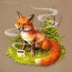 DeviantArt: More Like Day of the fox by Noukah Character Illustration, Illustration Art, Fox Tattoo Design, Fox Drawing, Fox Art, Cute Fox, Cute Animal Drawings, Cute Pokemon, Furry Art
