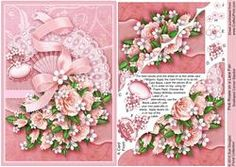 Pink Roses On A Lace Fan Scalloped Corner Stacker