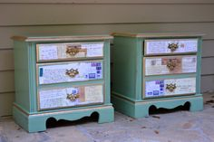 Up cycled   Hand painted Decoupage end tables