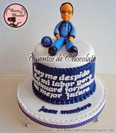 Mini torta mensajera con ganache de chocolate bitter peruano al 70% para la empresa LAC. Temática: Jubilación Sr. Juan Montero. Personaliza el tuyo ahora, Rpc,whatsapp 951-292-244,ventas@cuentosdehocolate.com