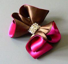 Laço de fitas marron e rosa Passo a Passo