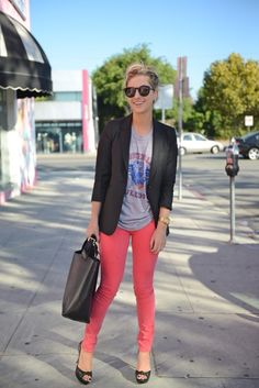 Black Blazer, colored skinnies, vintage graphic T | Cupcakes & Cashmere