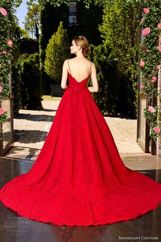 moonlight couture spring 2017 bridal spagetti strap sweetheart neckline full embellishment romantic princess red color a line wedding dress v back chapel train (h1321) bv