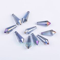 New-10pcs-Faceted-Glass-Crystal-Point-Teardrop-Pendant-Bead-8x20mm-More-Color