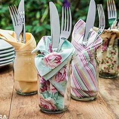 Trendy Ideas For Diy Outdoor Party Table Mason Jars Place Settings, Table Settings, Party Entertainment, Cloth Napkins, Cloth Napkin Folding, Folding Napkins, Deco Table, Decoration Table, Tablescapes