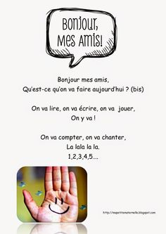 Ma petite maternelle: Comptine #20 Bonjour mes amis French Poems, French Quotes, Core French, French Class, French Teaching Resources, Teaching French, Kindergarten Poems, Fall Coloring Pages, French Immersion