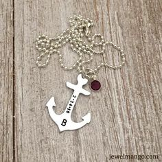 Anchor with letter B and February crystal