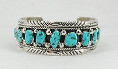 Authentic Native American Navajo Sterling Silver and Sleeping Beauty turquoise bracelet by Tommy Moore