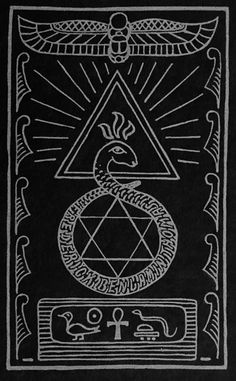 """John Yarker - Ex Libris Hermeticis, """"The Kneph"""", 1881.This masonic bookplate contains references to ancient Egypt (the hieroglyphs and the winged scarabee at the top), the country that was allegedly the cradle of masonry. The fiery triangle: the symbol for the divine; the serpent symbolizing the cyclical nature of life and death, infinity, and the hexagram or six-pointed star unifying the masculine element (fire: the triangle pointing upwards) and the feminine element (water: the triangle"""